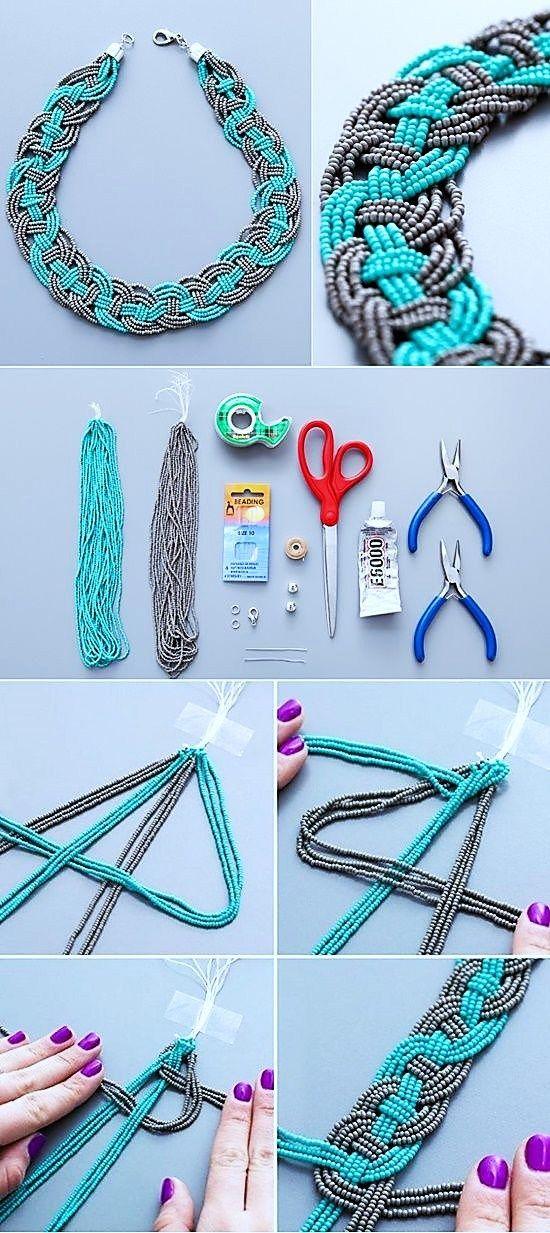 11a41295e918 collar mostacilla como hacer un collar tejido bisuteria paso a paso gratis