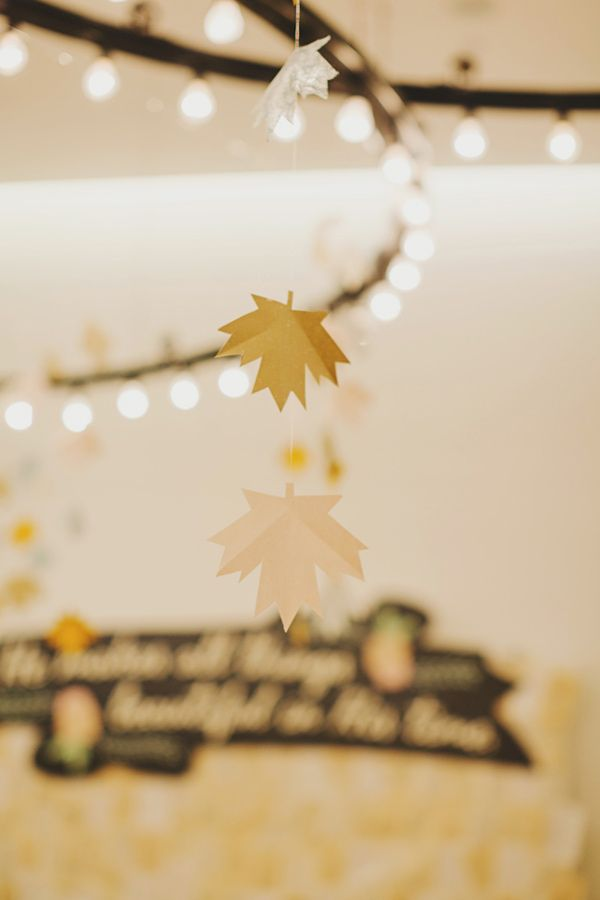Paper maple leaves photo by jonathan ong httpruffledblog these wedding garlands are easy to make and are perfect for a wedding party in fall choose maple colors and pretty twinkle lights to decorate your junglespirit Images