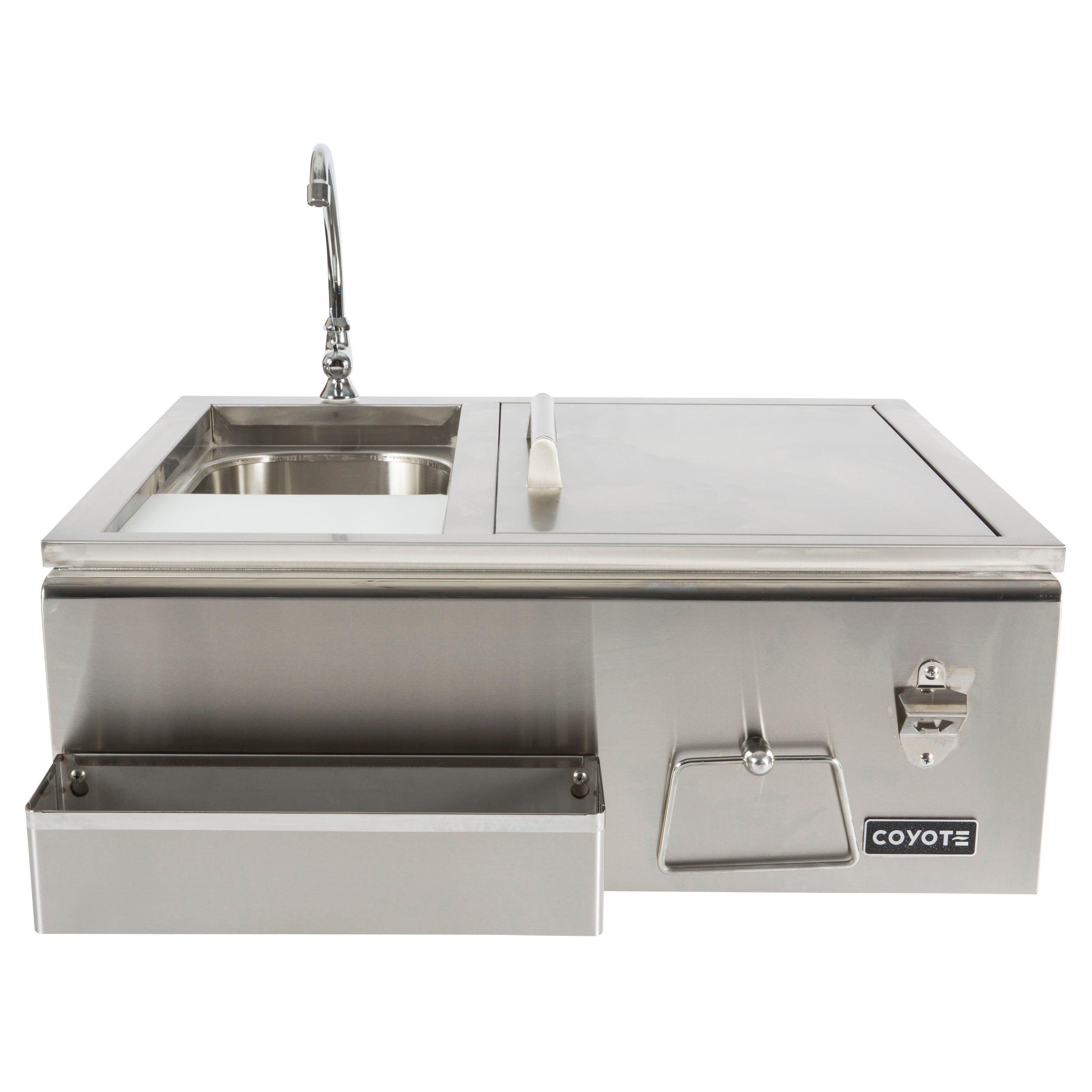Refreshment Center Sink Faucet Drop In Cooler Stainless Steel Outdoor Sinks Sink Outdoor Refrigerator