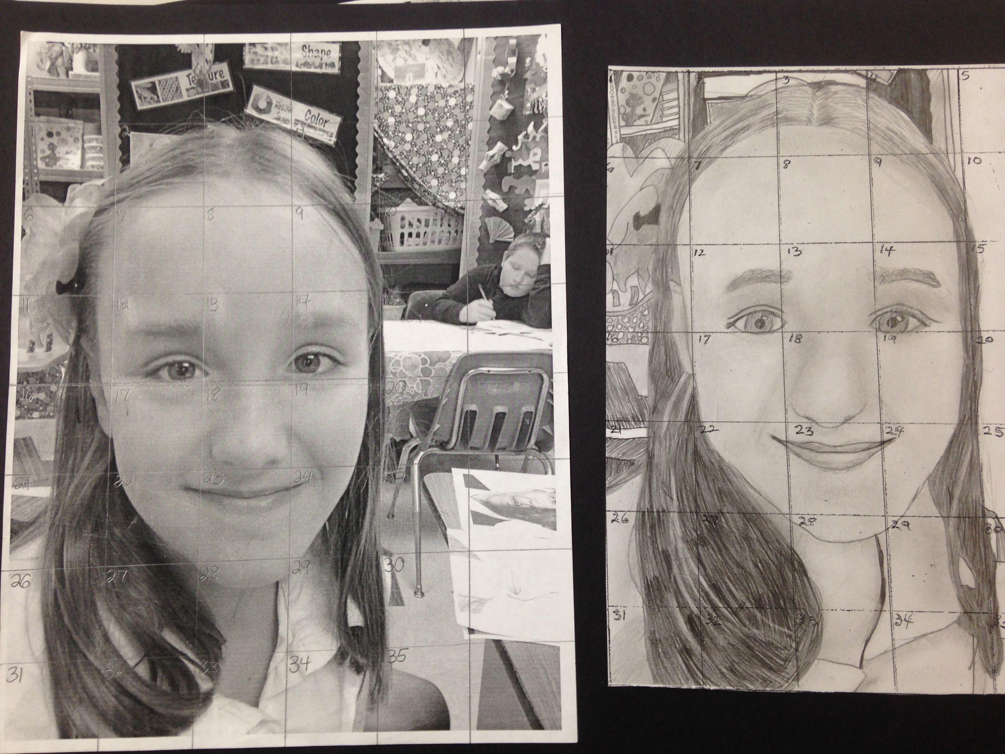 Self Portrait Using A Grid 5th Grade Art Math