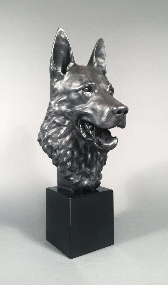 German Shepherd Sculpture Life Size Dog Bust, Smile, Fine Art Handmade, Home  Decor