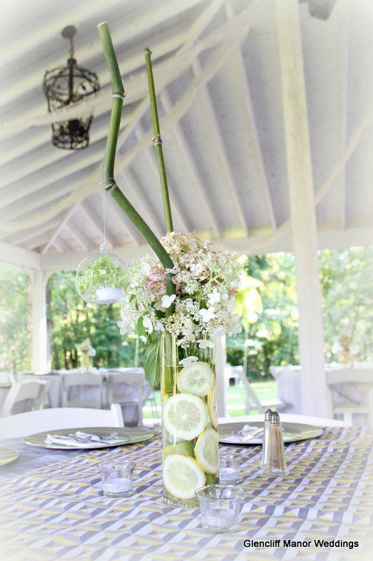 Hydrangea lemons and bamboo centerpiece glencliffmanor