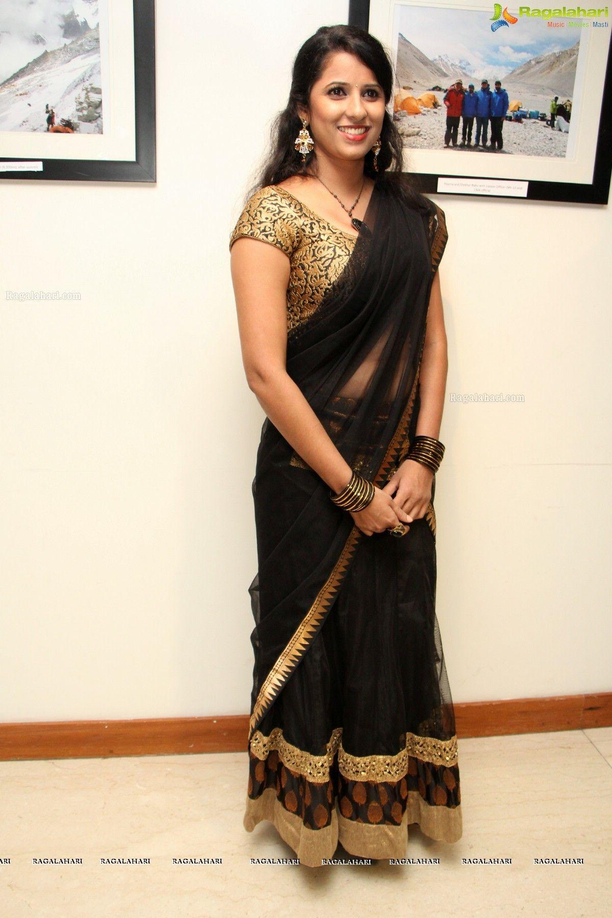 Shravya reddy | Black saree, Clothes for women, Saree