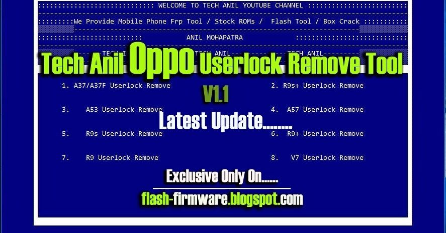 DownloadTech Anil Oppo Userlock Remove Tool Feature: A37/A37F