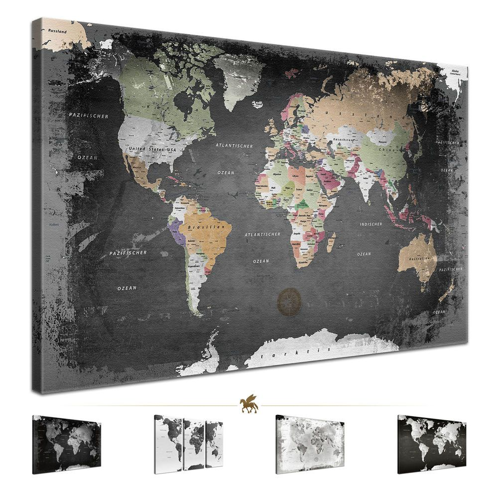 details zu lanakk weltkarte leinwandbild poster pinnwand kork vintage schwarz wei grau. Black Bedroom Furniture Sets. Home Design Ideas