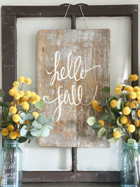 Creative DIY Fall Signs Rustic style, Repurposed and Thanksgiving - halloween desk decorations
