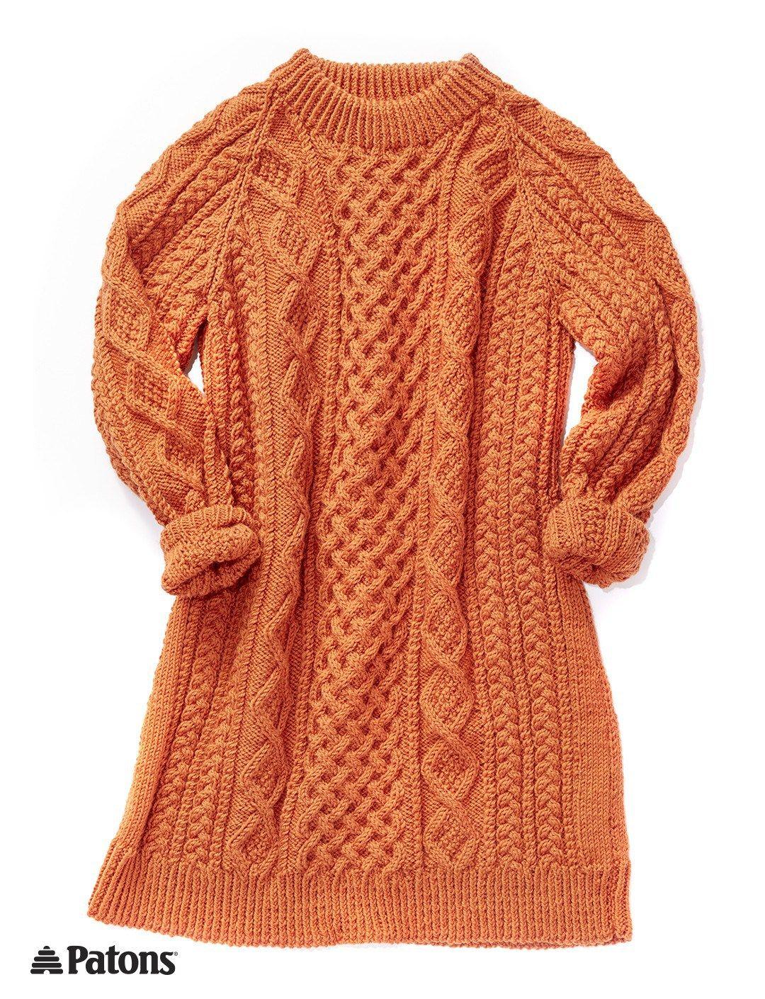 Free knitting pattern for Honeycomb Aran Sweater Dress                                                                                                                                                                                 More