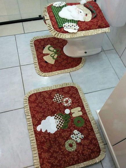 Jogo De Banheiro Natal Com Imagens Banheiro Natal Tapetes De