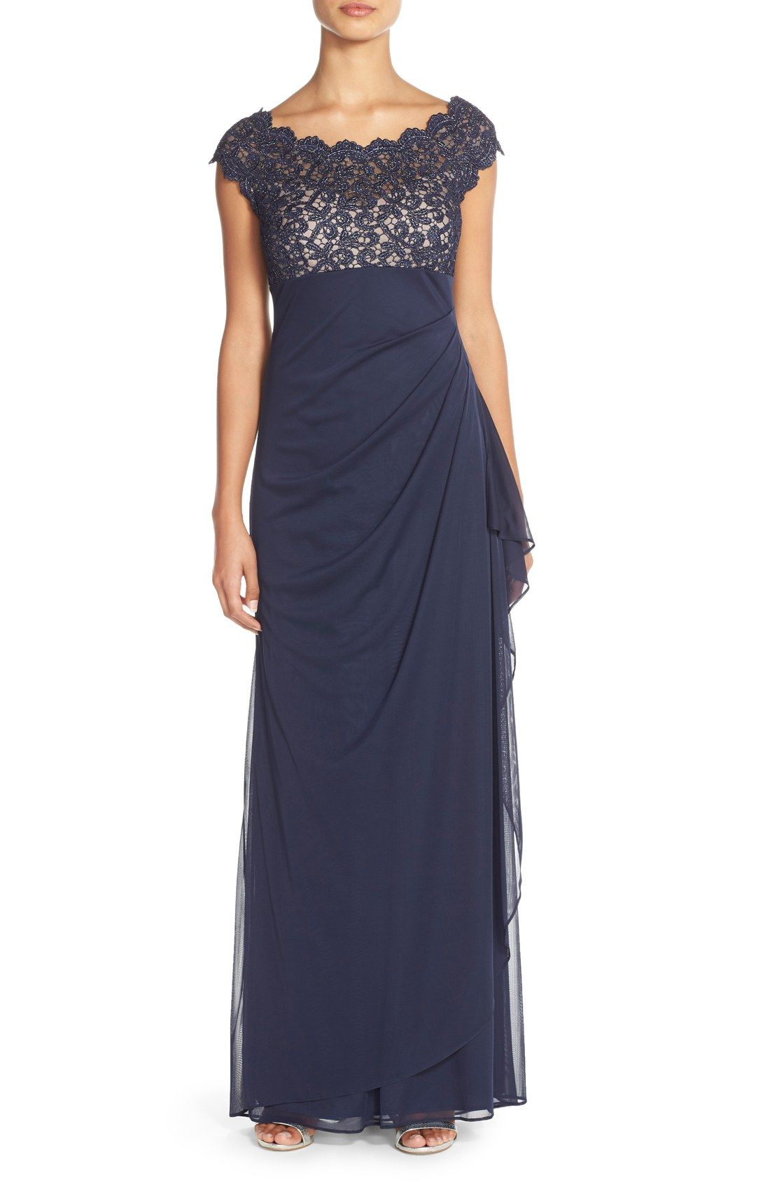 Xscape Metallic Lace & Jersey Gown (Regular & Petite) | MOB Dress ...