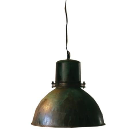 industrial modern warehouse style pendant lamp with green patina