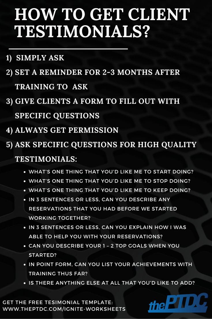 How to get client testimonials for personal trainers plus a how to get client testimonials for personal trainers plus a testimonial template the personal xflitez Images