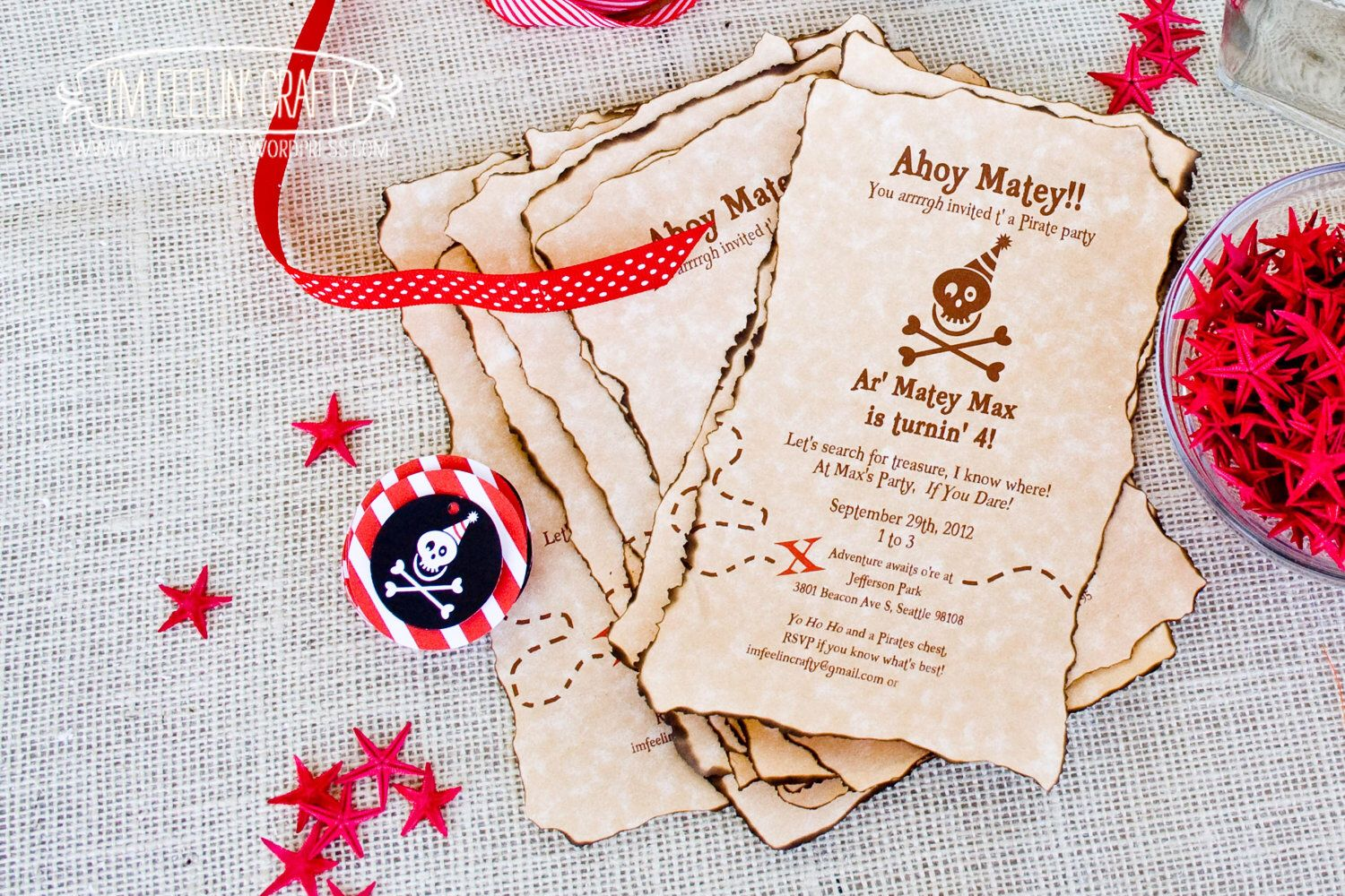 Pirate Party Invitations- Hand Burned- Set of 10 by imfeelincrafty on Etsy https://www.etsy.com/listing/115385267/pirate-party-invitations-hand-burned-set