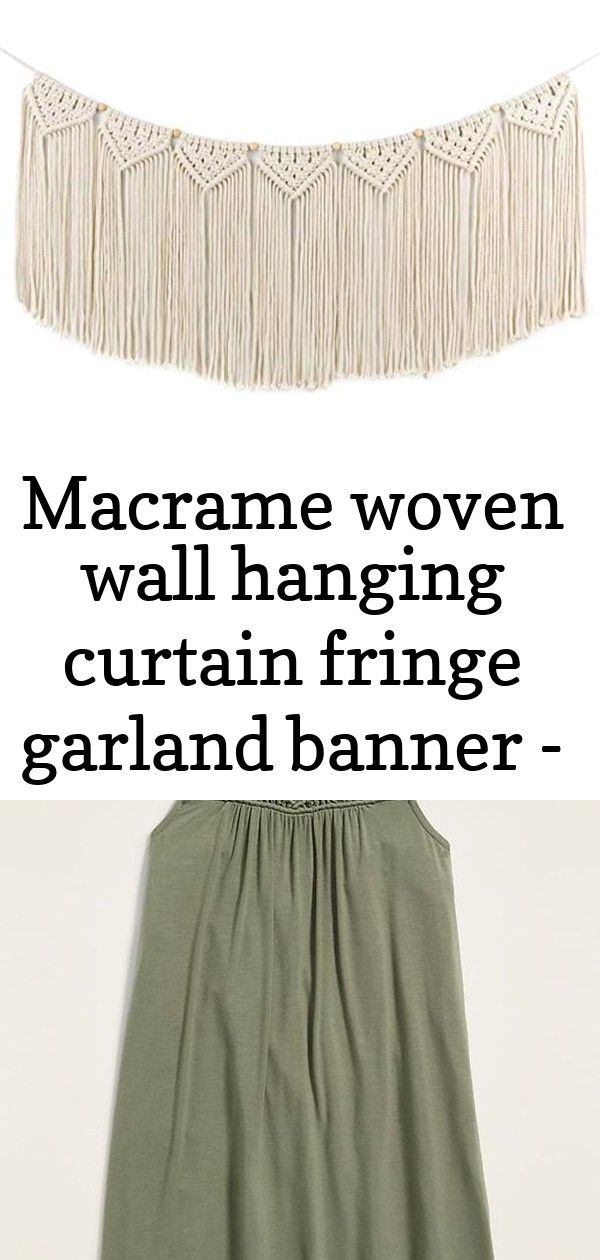 Macrame woven wall hanging curtain fringe garland banner - boho shabby chic bohemian wall decor 7 #curtainfringe