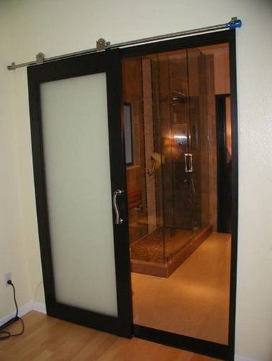 Black Frame Bathroom Sliding Glass Doors With Frosted