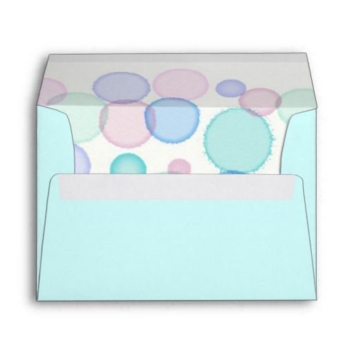 Pale Blue with Colorful Watercolor Bubbles Inside Envelope