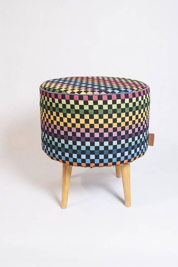 Colorful Chequer Tapestry Fabric Unique Set Round Pouf