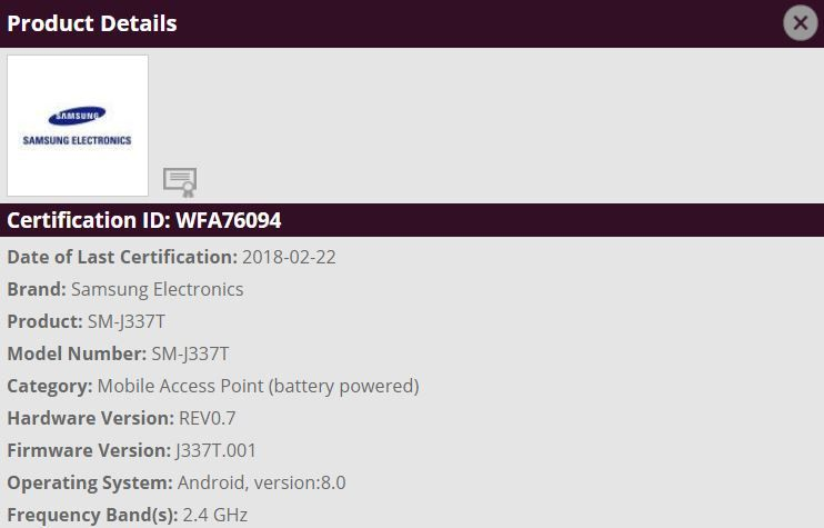 Samsung Galaxy J3 2018 T-Mobile USA SM-J337T Oreo Clears Wi-Fi