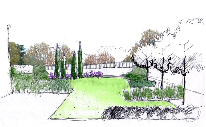 Dibujo jard n en patio de vivienda dibujos croquis y for Jardineria paisajista