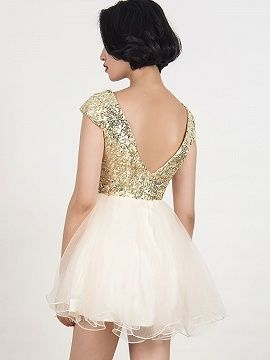 Shop Golden Sequined Tulle Panel Cap Sleeve Homecoming Dress from choies.com .Free shipping Worldwide.$46.9