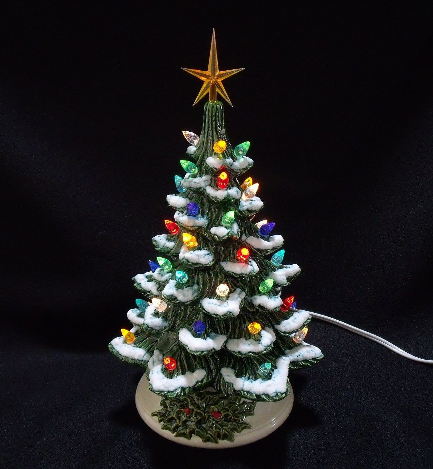 Old Fashioned Ceramic Christmas Tree with Snow 11 Inch