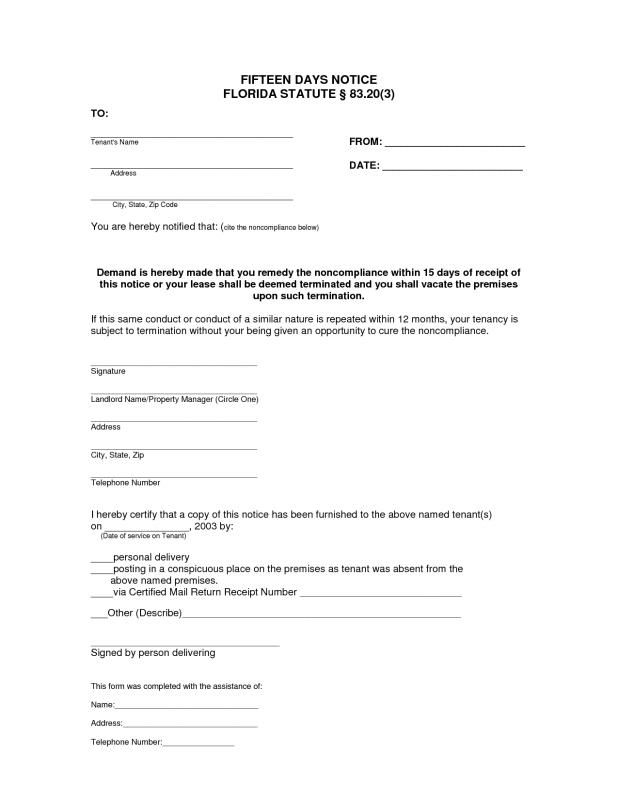 Eviction Letters Templates 3 Day Eviction Notice Florida  Template  Pinterest  Template