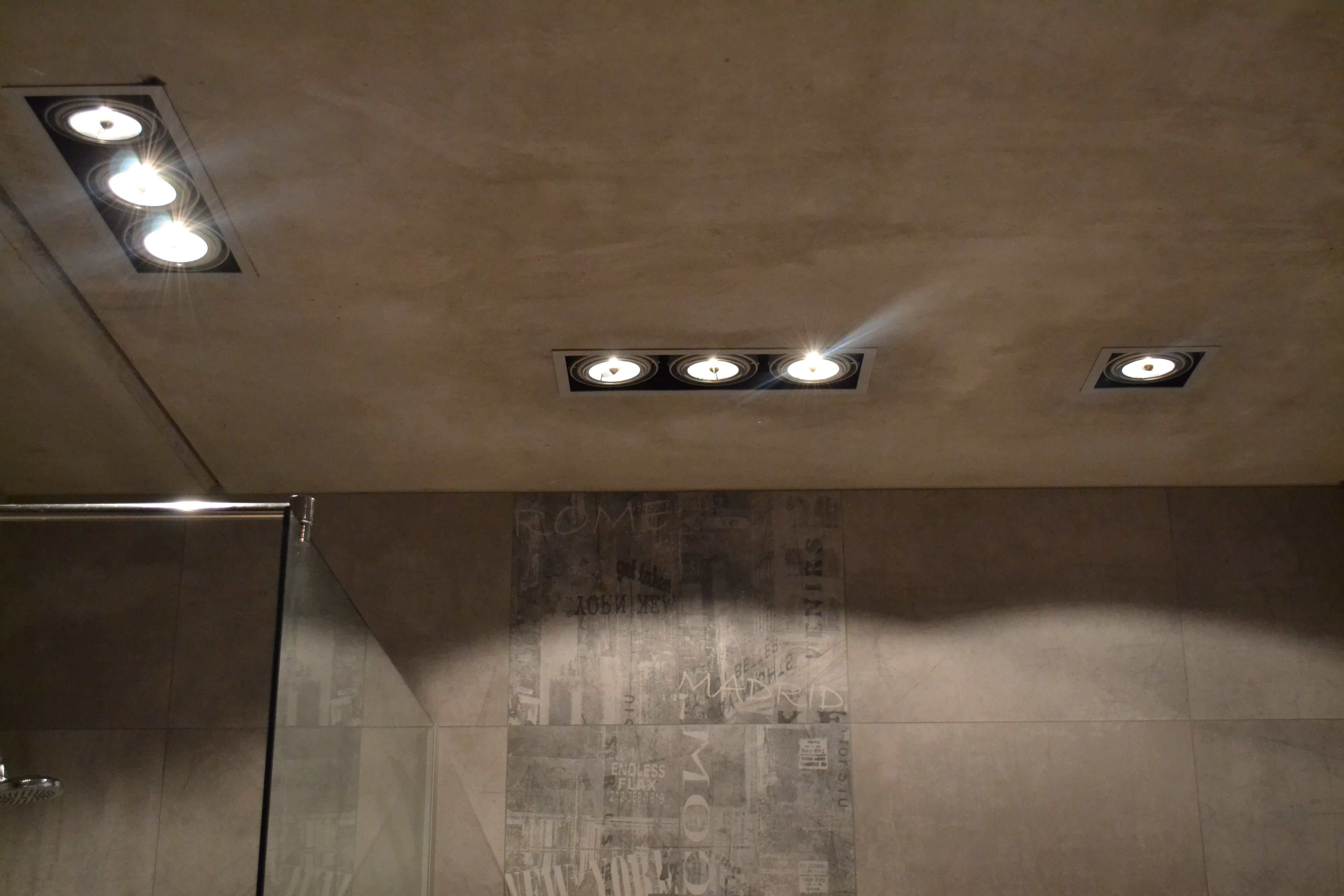 Luciferos Incas spots used as recessed lighting. These are with qr111 bulbs - quite big bulbs giving a light with sting.