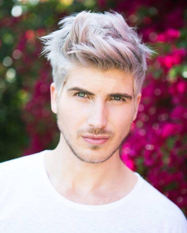 Textured Blonde Bleached Faded Purple Men Hair Color Bleached Hair Mens Hair Colour