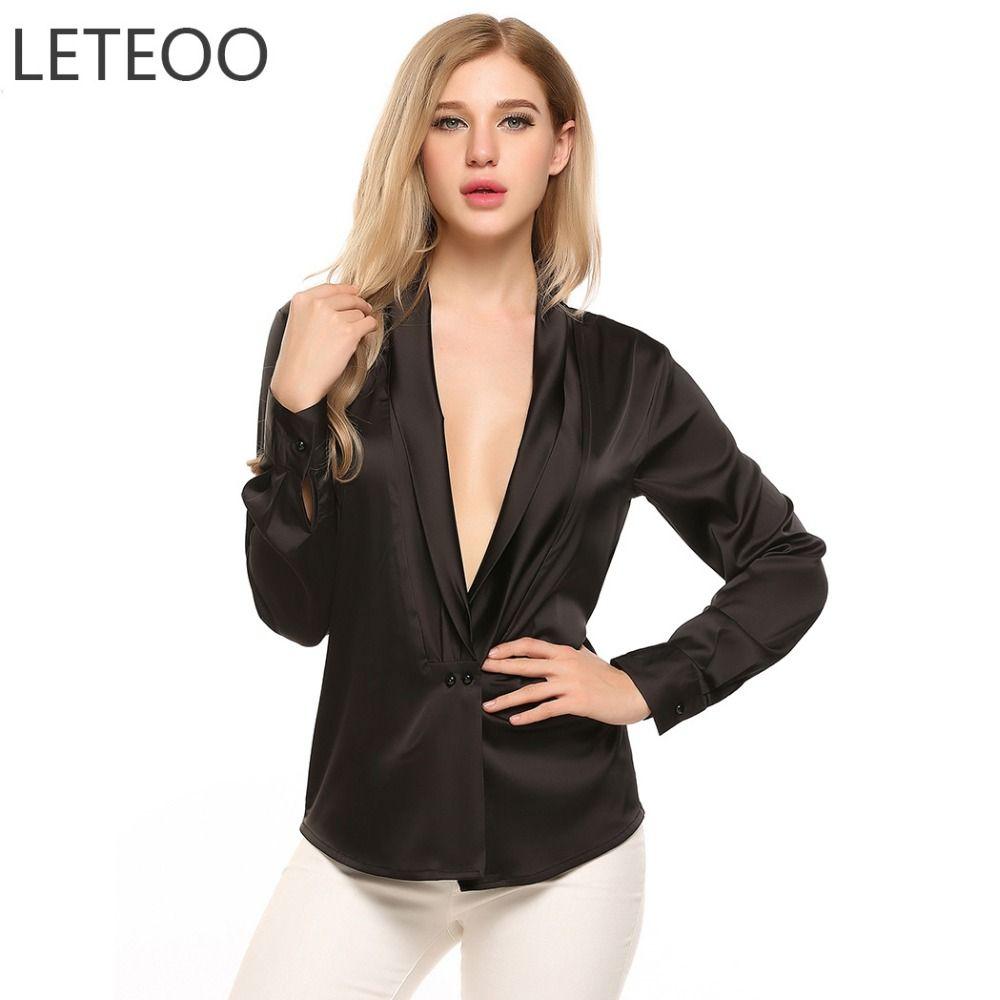 a5d67acc6338e LETEOO Front Button Satin Blouse Kimono Cardigan Long Sleeve Womens Tops  Deep V-Neck Silk