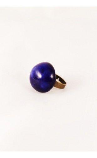 Bague fantaisie en céramique - bleu marine  http://eva-arlettaz.com/bijoux-artisanaux/230-bague-fantaisie-en-ceramique-bleu-marine.html