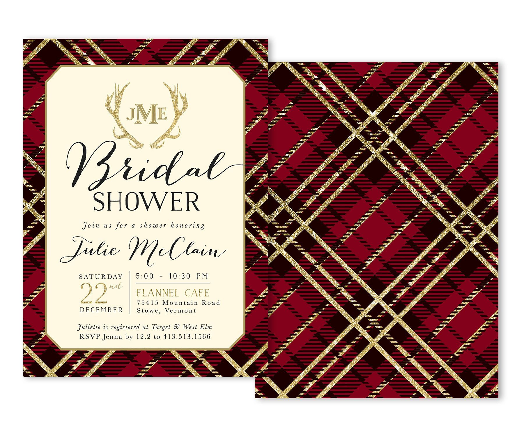 Holiday Flannel: Bridal Shower Invitation {Red} | Shower invitations ...