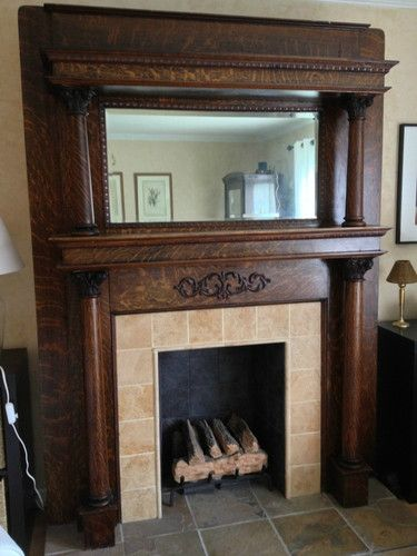 Antique Combed Stained Fireplace Mantel With Insert And