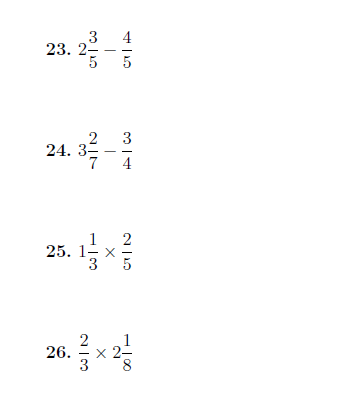 Mixed Operations Between Fractions Mixed Numbers And Whole Numbers Worksheet With Solutions Fractions Mixed Numbers Number Worksheets