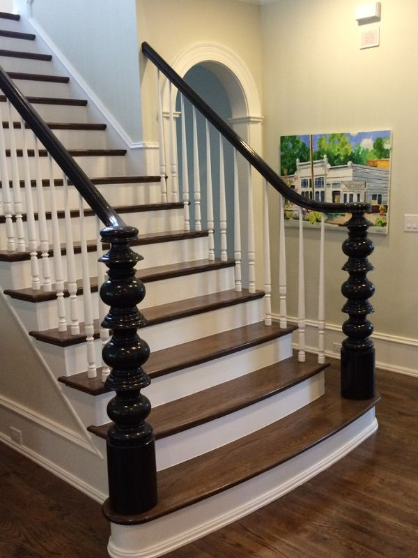 Custom stair with wood treads painted risers and spindles for Painted stair treads