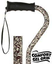 Royal Canes -Bahama Leaf Adjustable Offset Walking Cane With Comfort Gel Grip by Royal Canes. $24.95. The new Bahama Leaf pattern is sure to be your new favorite. Featuring shades of brown with a hint of green this cane is great for both men and women. The stylish aluminum shaft is easily adjustable in height and has an anodized finish for quality. The upgraded ergonomic handle has a softer rubberized coating to add extra comfort.