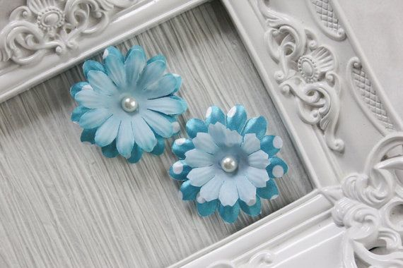 Blue and White Polka Dot Hair Clip  Set of 2 by BabyGeneration, $3.50