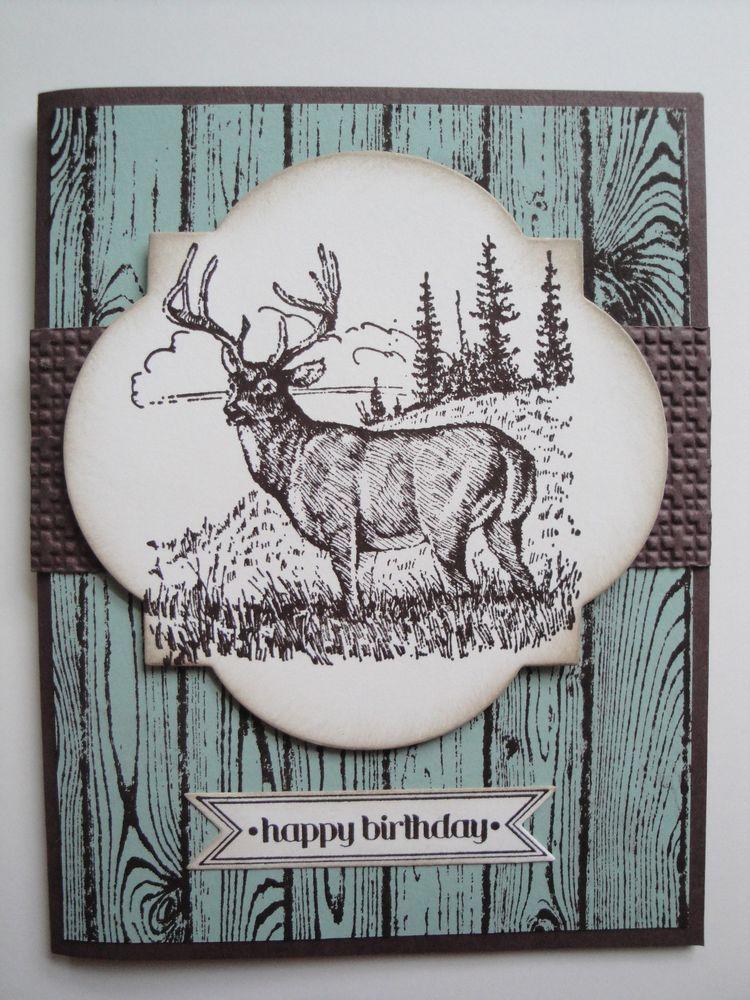 Deer birthday card kit 4 cards lot stampin up masculine men deer birthday card kit 4 cards lot stampin up masculine men hunting bookmarktalkfo Gallery