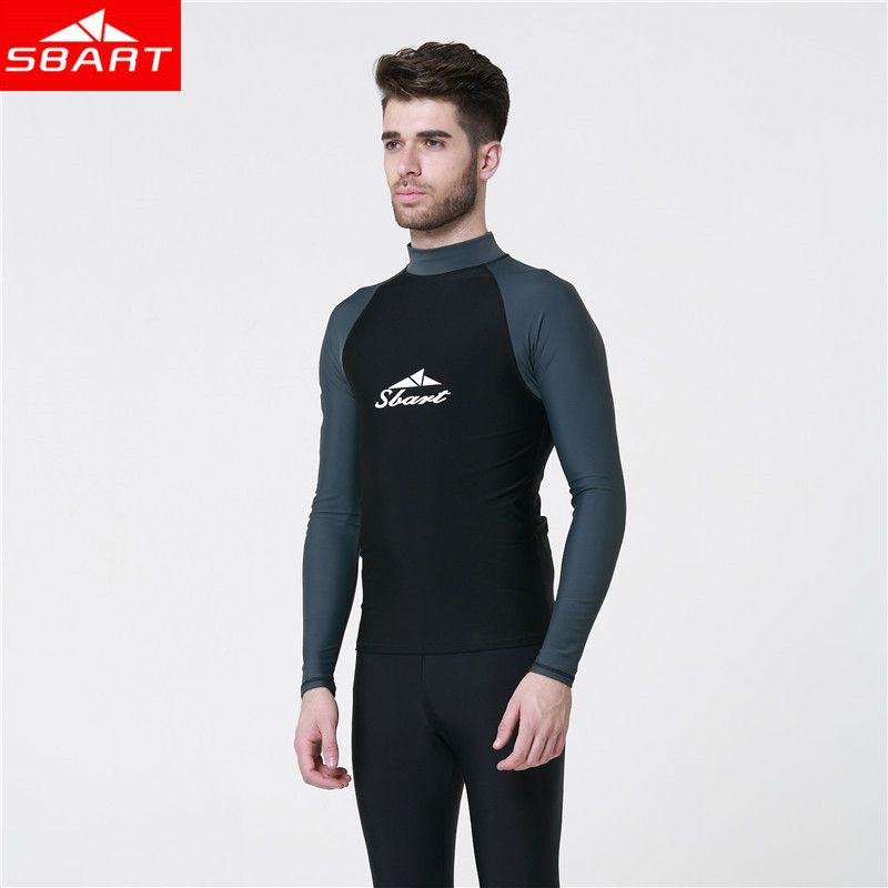 Scuba Diving Surfing UV Protection Rash Guard Swim Suit Mens Wetsuit Top