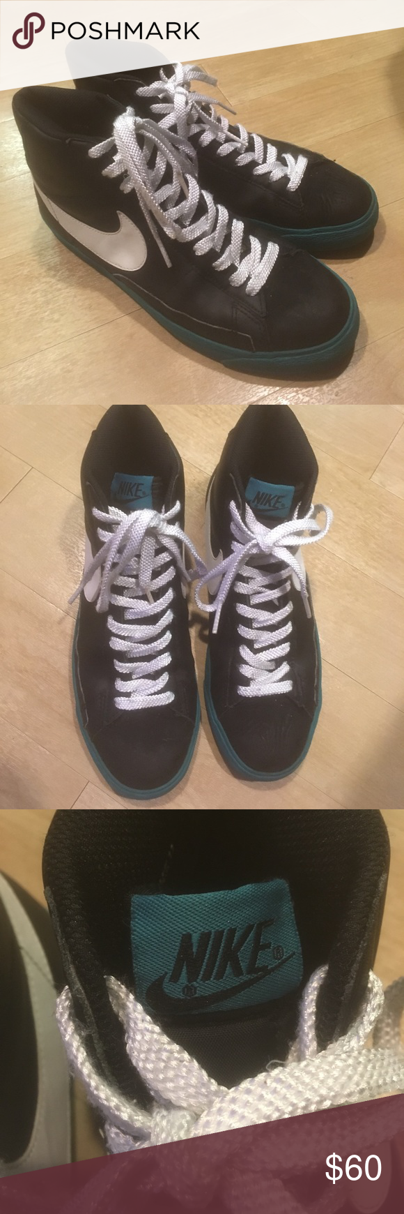 promo code 9bd28 e2d1b Nike Blazer High Top Sneakers - Black Turquoise These are a rare pair of  Nike Blazers in the Black Freshwater colorway. Show some signs of  wear wrinkles.