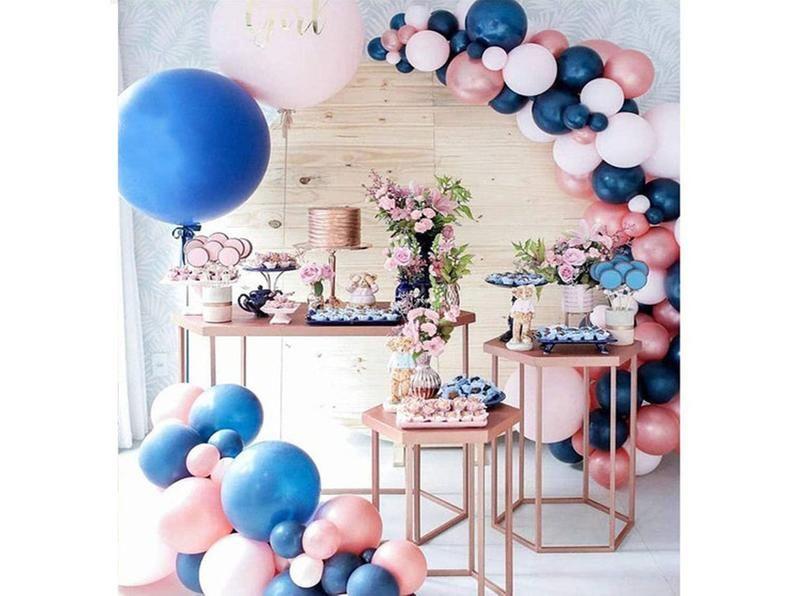 Navy Blue Pink Rose Gold Balloon Arch Garland Set,