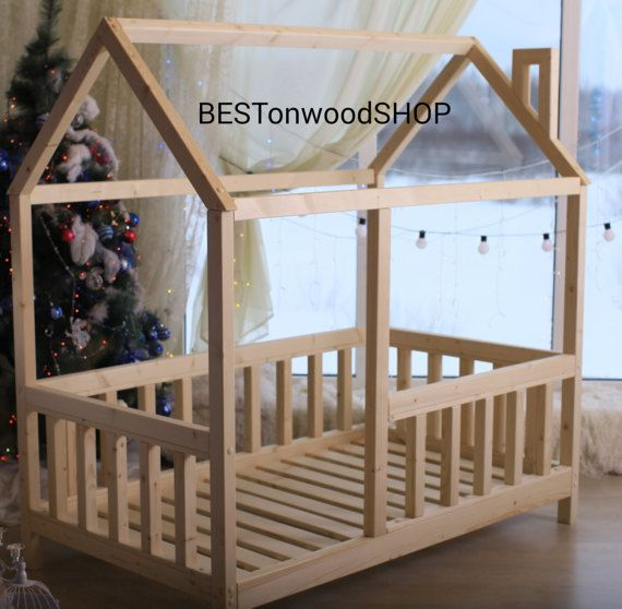 Toddler bed house bed tent bed wooden house wood by for Homemade wall tent frame