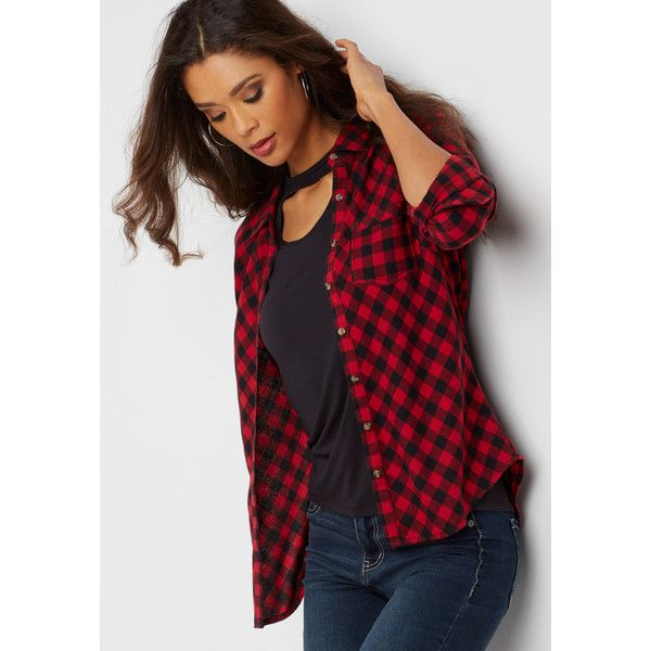 Maurices On Down Red And Black Gingham Flannel Shirt