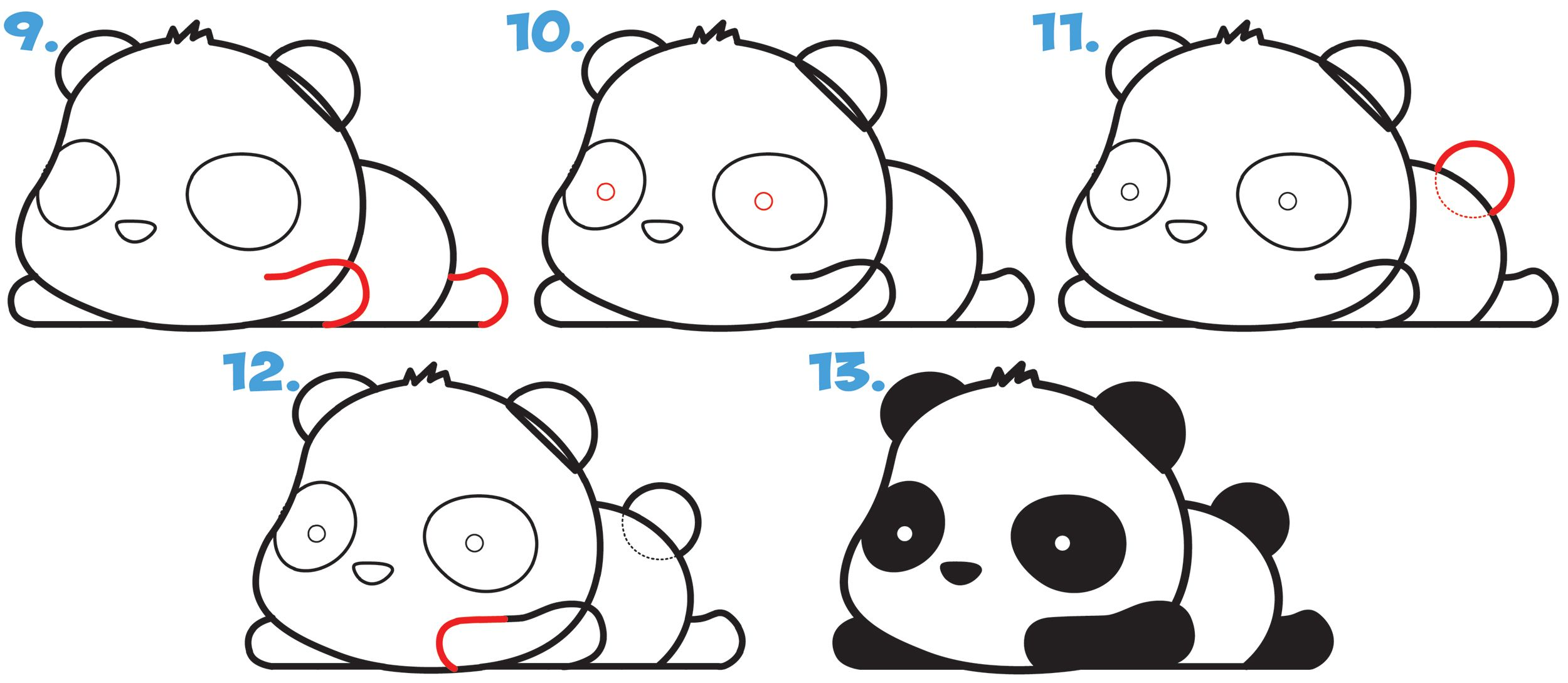 How To Draw A Super Cute Kawaii Panda Bear Laying Down Easy Step