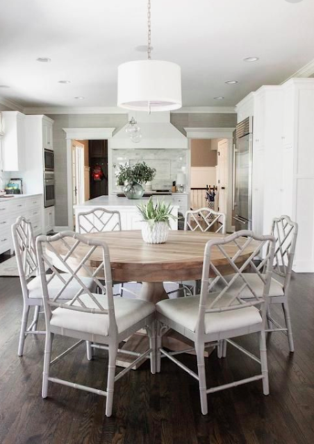 The Beauty Of Round Dining Tables And Some Fun Entertainment Classic Casual In 2020 Farmhouse Dining Room Table Modern Farmhouse Dining Room Modern Farmhouse Dining