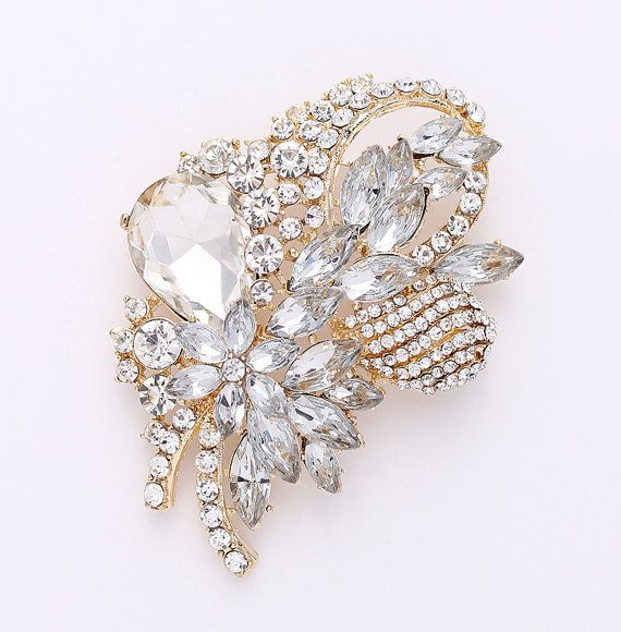 b545723af4cfe Rhinestone Gold Brooch, Bridal Sash Dress Big Crystal Gold Broach ...