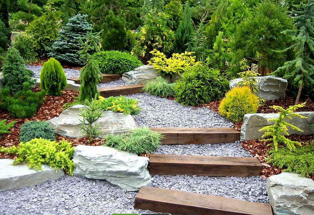 Gravel And Landscape Timbers For Gradual Slope Steps Nice
