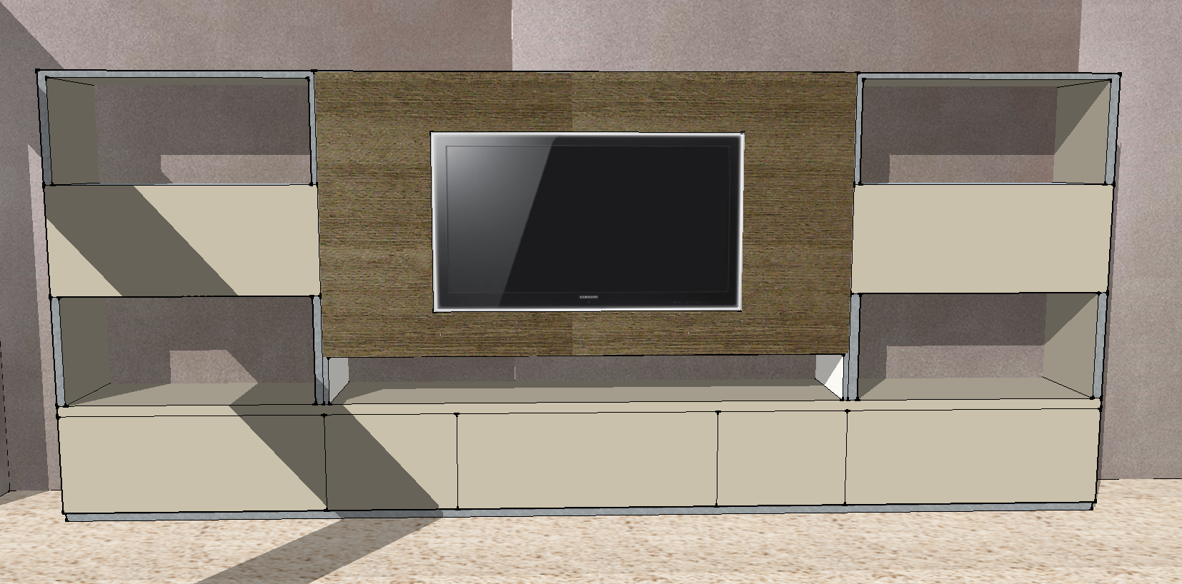 check out 00717 b4aae Sketchup plan for Large custom-made TV Unit, part specialist ...