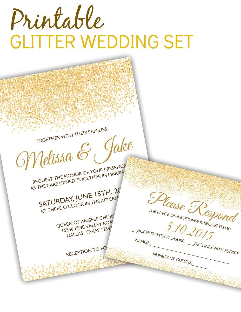 Printable Glitter Invitation Rsvp Template Modern Wedding Invitation Wording Wedding Invitation Templates Invitation Templates Word