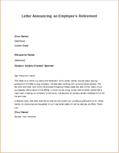 letter announcing an employees retirement download at http