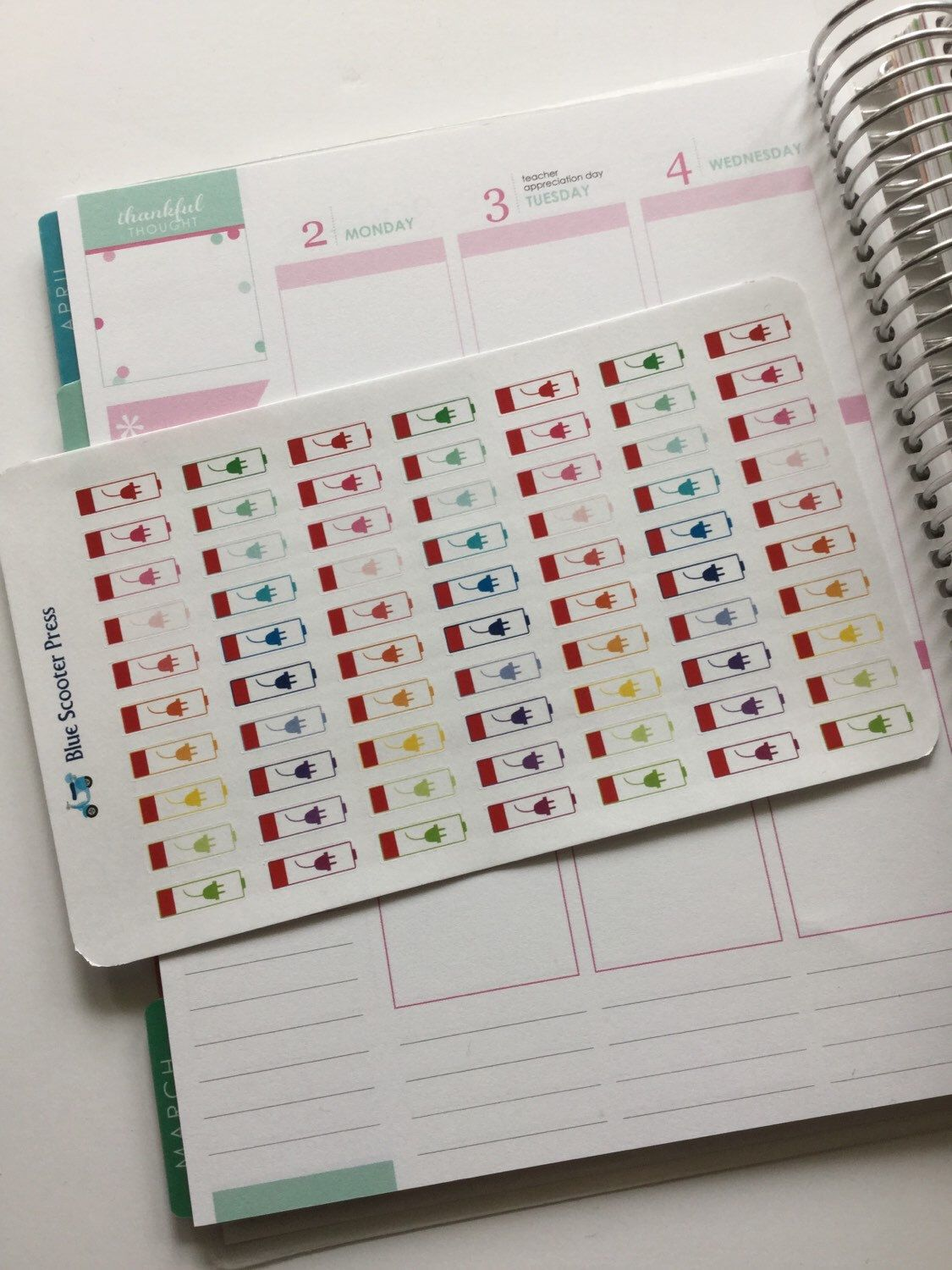 MS105M// Charging Battery Reminders! 70 MATTE Planner Stickers. by BlueScooterPress on Etsy https://www.etsy.com/listing/287598205/ms105m-charging-battery-reminders-70