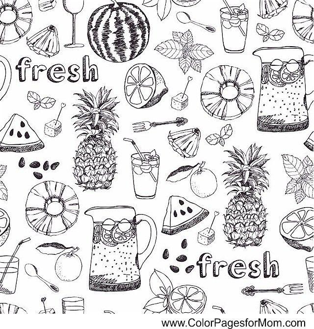 COFFEE, TEA & WINE Coloring Page LOOKS LIKE FRESH FRUIT